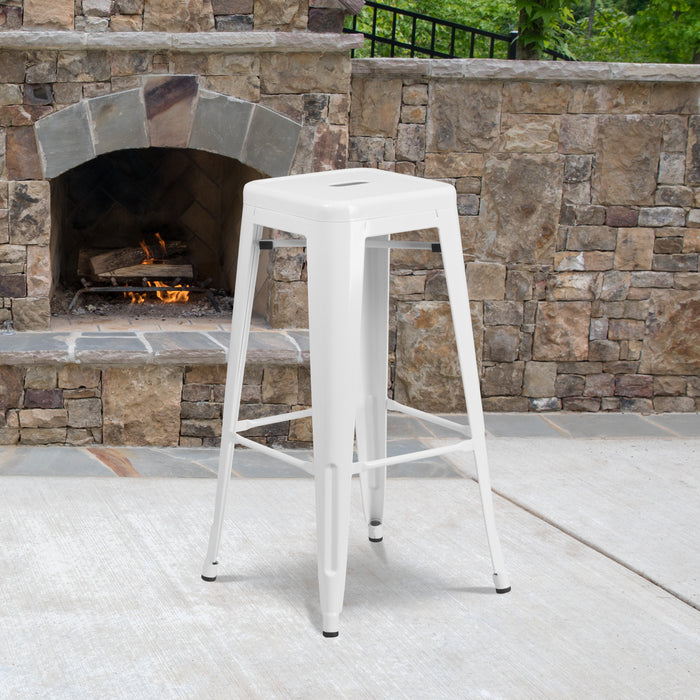 30'' High Backless White Metal Restaurant Indoor-Outdoor Barstool with Square Seat