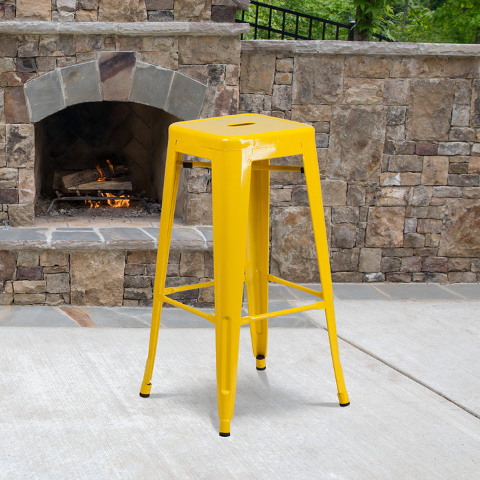 30'' High Backless Yellow Metal Restaurant Indoor-Outdoor Barstool with Square Seat