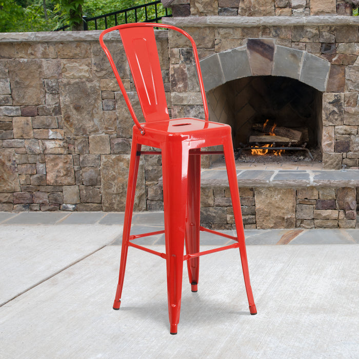 30'' High Red Metal Restaurant Indoor-Outdoor Barstool with Back