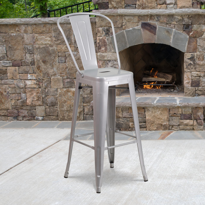 30'' High Silver Metal Restaurant Indoor-Outdoor Barstool with Back