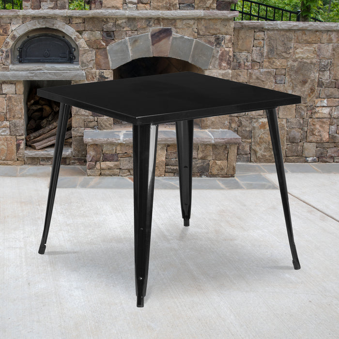 31.75'' Square Black Metal Indoor-Outdoor Restaurant Table