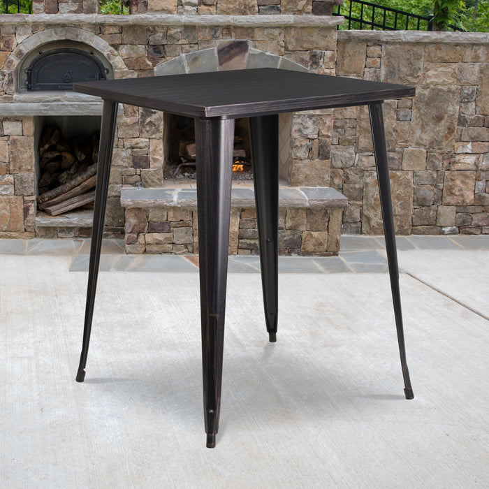 31.5'' Square Black-Antique Gold Metal Indoor-Outdoor Bar Height Table