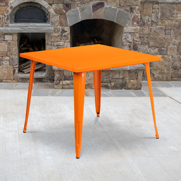 35.5'' Square Orange Metal Indoor-Outdoor Restaurant Table