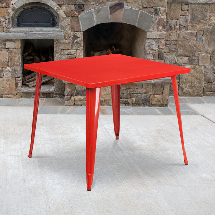 35.5'' Square Red Metal Indoor-Outdoor Restaurant Table