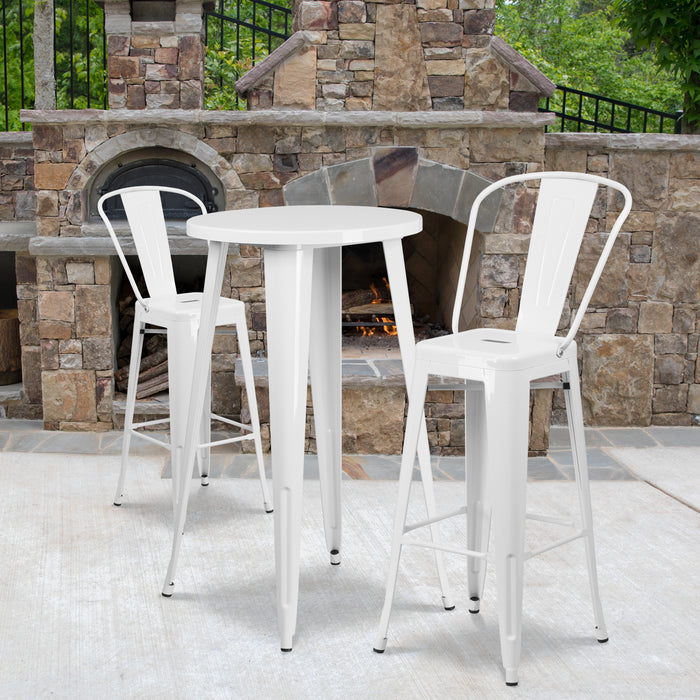 24'' Round White Metal Indoor-Outdoor Bar Table Set with 2 Cafe Stools