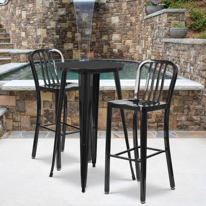 24'' Round Black Metal Indoor-Outdoor Bar Table Set with 2 Vertical Slat Back Stools