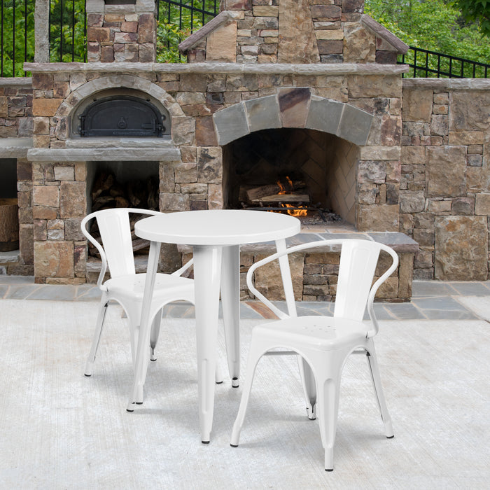 24'' Round White Metal Indoor-Outdoor Restaurant Table Set with 2 Arm Chairs