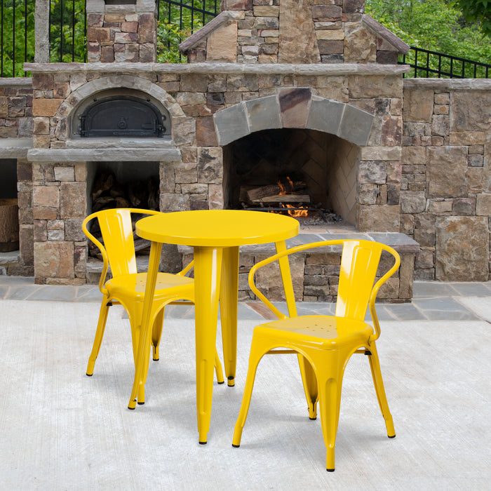 24'' Round Yellow Metal Indoor-Outdoor Restaurant Table Set with 2 Arm Chairs