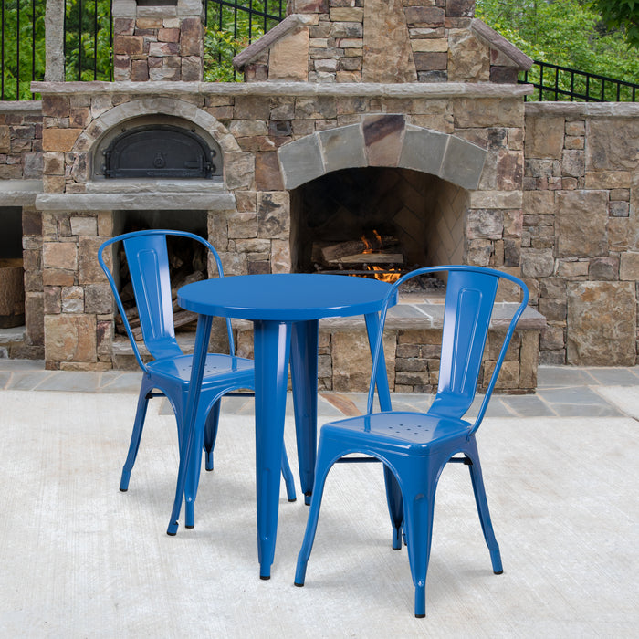24'' Round Blue Metal Indoor-Outdoor Restaurant Table Set with 2 Cafe Chairs