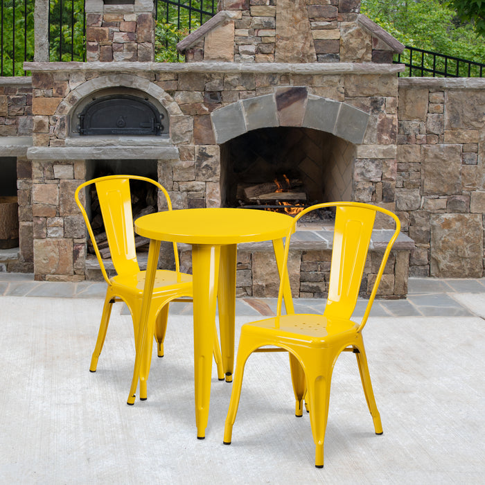 24'' Round Yellow Metal Indoor-Outdoor Restaurant Table Set with 2 Cafe Chairs