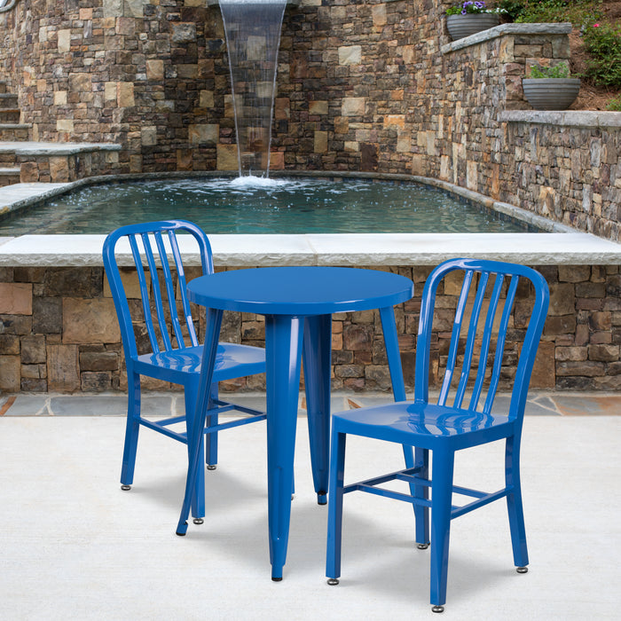 24'' Round Blue Metal Indoor-Outdoor Restaurant Table Set with 2 Vertical Slat Back Chairs