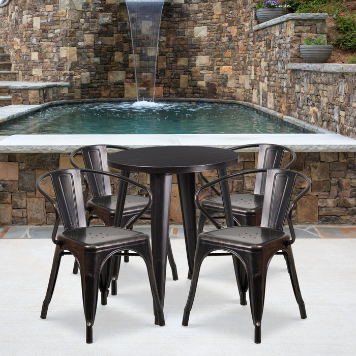 24'' Round Black-Antique Gold Metal Indoor-Outdoor Restaurant Table Set with 4 Arm Chairs
