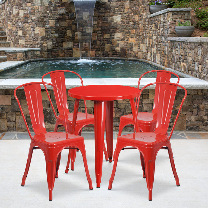 24'' Round Red Metal Indoor-Outdoor Restaurant Table Set with 4 Cafe Chairs