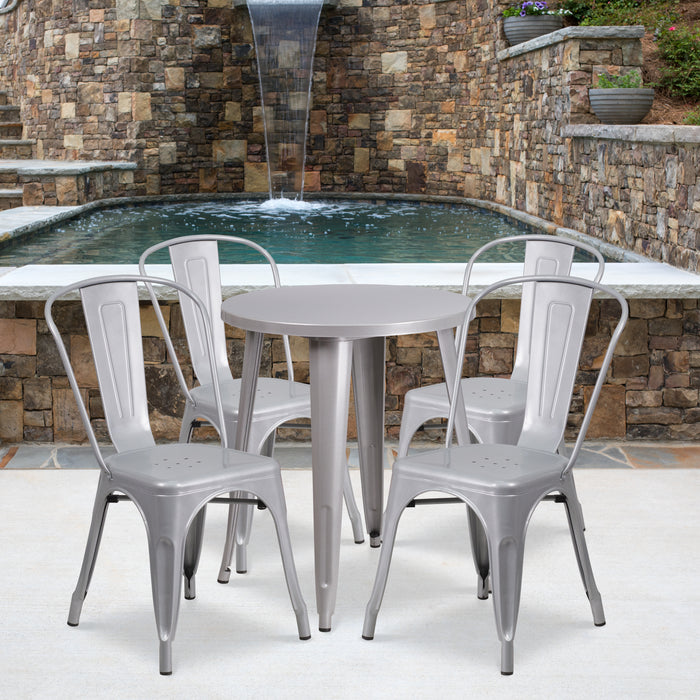 24'' Round Silver Metal Indoor-Outdoor Restaurant Table Set with 4 Cafe Chairs