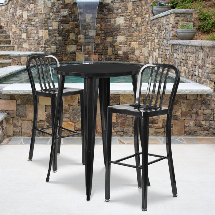 30'' Round Black Metal Indoor-Outdoor Bar Table Set with 2 Vertical Slat Back Stools