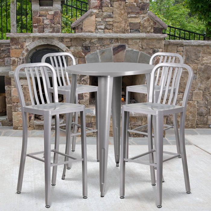 30'' Round Silver Metal Indoor-Outdoor Bar Table Set with 4 Vertical Slat Back Stools