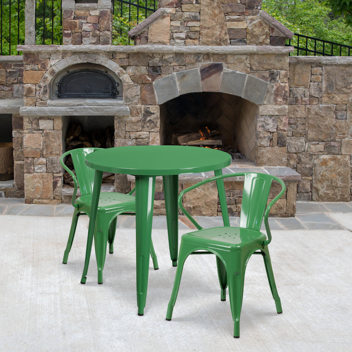 30'' Round Green Metal Indoor-Outdoor Restaurant Table Set with 2 Arm Chairs