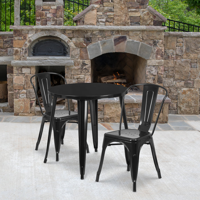 30'' Round Black Metal Indoor-Outdoor Restaurant Table Set with 2 Cafe Chairs