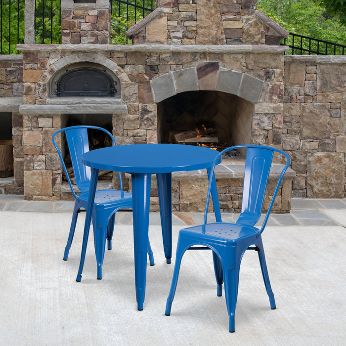 30'' Round Blue Metal Indoor-Outdoor Restaurant Table Set with 2 Cafe Chairs