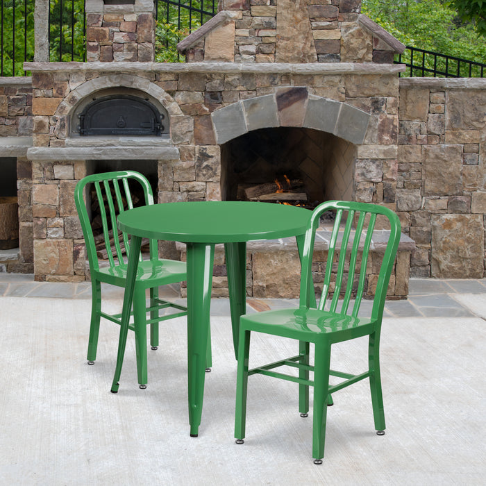 30'' Round Green Metal Indoor-Outdoor Restaurant Table Set with 2 Vertical Slat Back Chairs