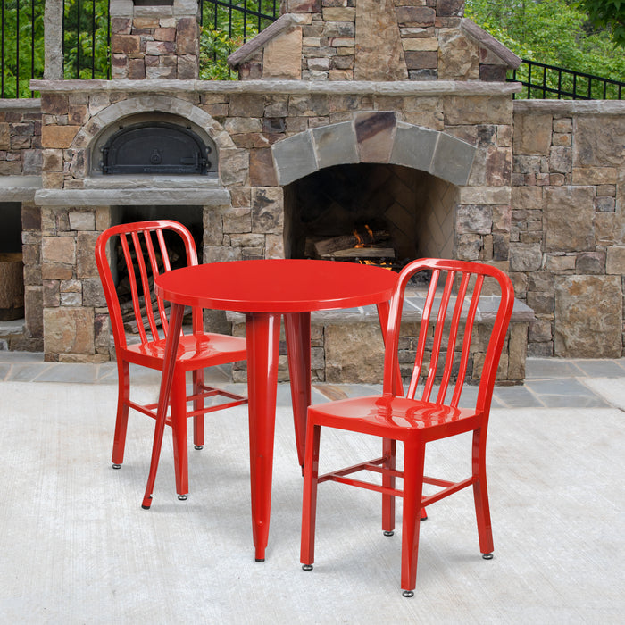 30'' Round Red Metal Indoor-Outdoor Restaurant Table Set with 2 Vertical Slat Back Chairs