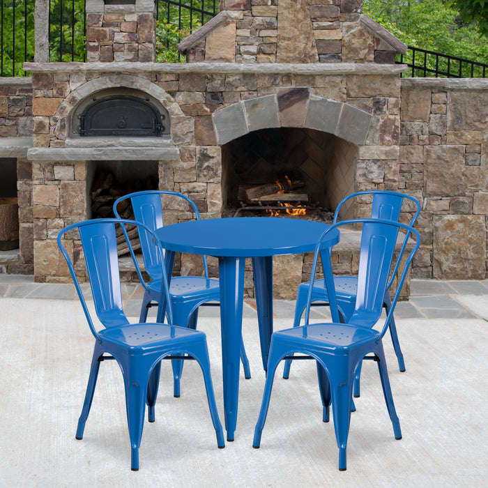 30'' Round Blue Metal Indoor-Outdoor Restaurant Table Set with 4 Cafe Chairs