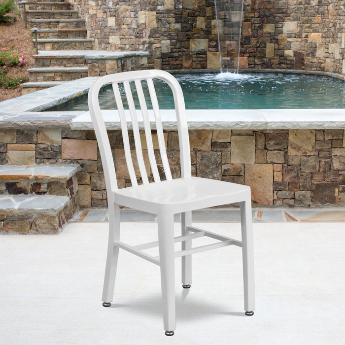 "18.5"" White Metal Restaurant Indoor-Outdoor Chair"