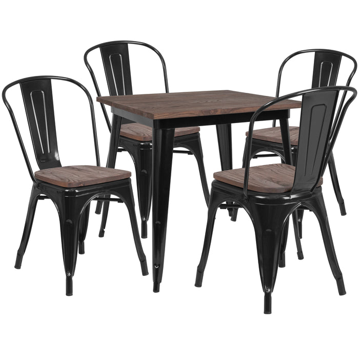 "31.5"" Square Black Metal Restaurant Table Set with Wood Top and 4 Stack Chairs"