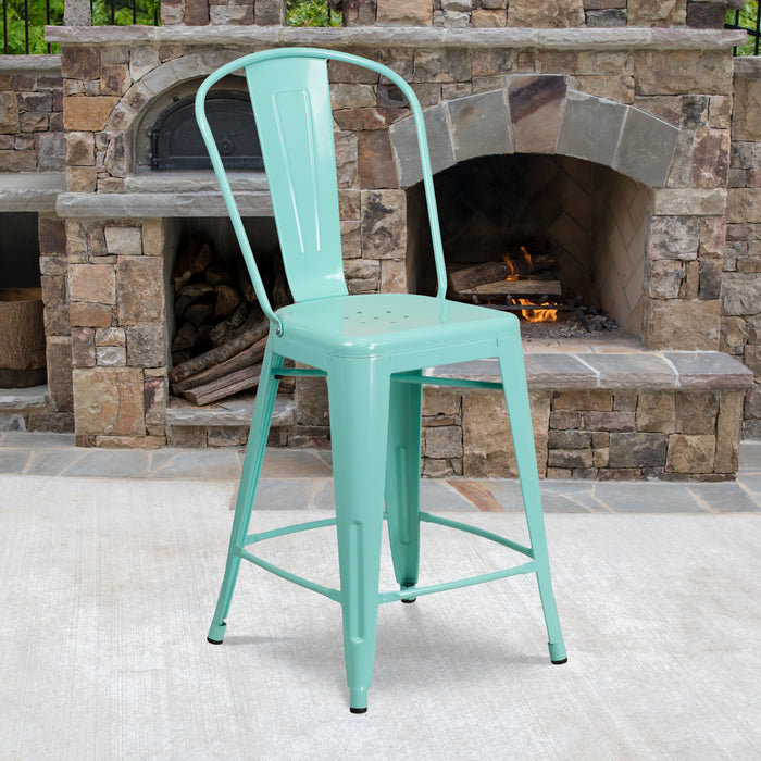 24'' High Mint Green Metal Restaurant Indoor-Outdoor Counter Height Stool with Back