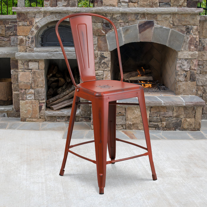 24'' High Distressed Kelly Red Metal Restaurant Indoor-Outdoor Counter Height Stool with Back