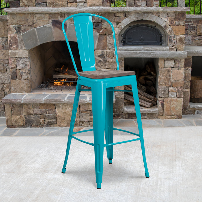 "30"" High Crystal Teal-Blue Metal Restaurant Barstool with Back and Wood Seat"