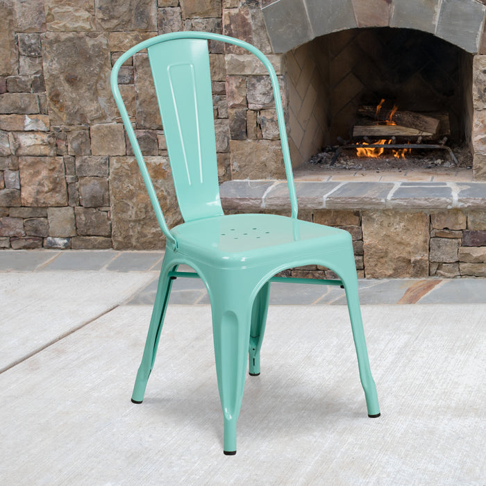 "17.25"" Mint Green Metal Restaurant Indoor-Outdoor Stackable Chair"