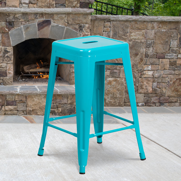 24'' High Backless Crystal Teal-Blue Metal Restaurant Indoor-Outdoor Counter Height Stool
