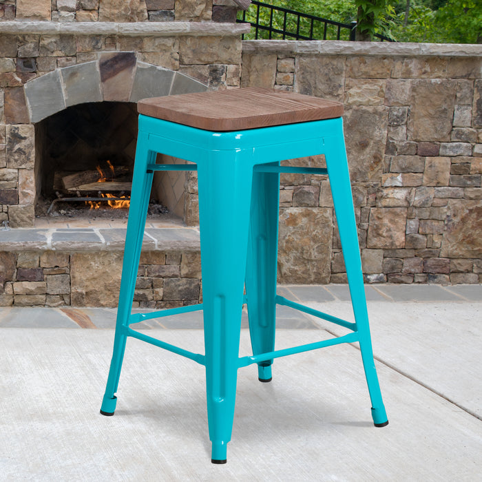 "24"" High Backless Crystal Teal-Blue Counter Height Restaurant Stool with Square Wood Seat"