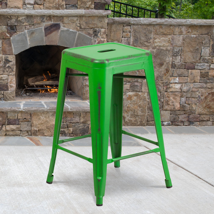 24'' High Backless Distressed Green Metal Restaurant Indoor-Outdoor Counter Height Stool