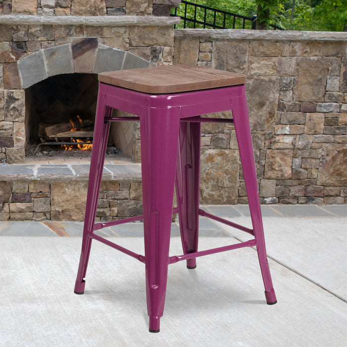 "24"" High Backless Purple Counter Height Restaurant Stool with Square Wood Seat"