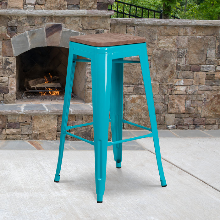 "30"" High Backless Crystal Teal-Blue Restaurant Barstool with Square Wood Seat"