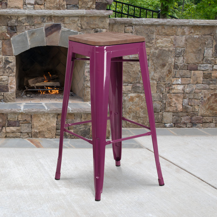 "30"" High Backless Purple Restaurant Barstool with Square Wood Seat"
