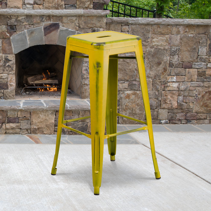 30'' High Backless Distressed Yellow Metal Restaurant Indoor-Outdoor Barstool