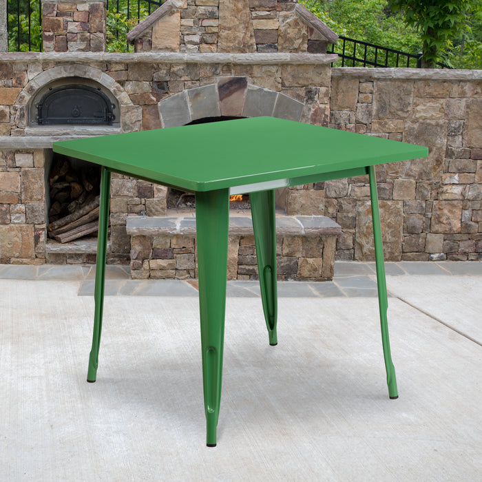 31.5'' Square Green Metal Indoor-Outdoor Restaurant Table