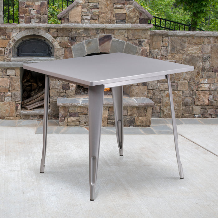 31.5'' Square Silver Metal Indoor-Outdoor Restaurant Table