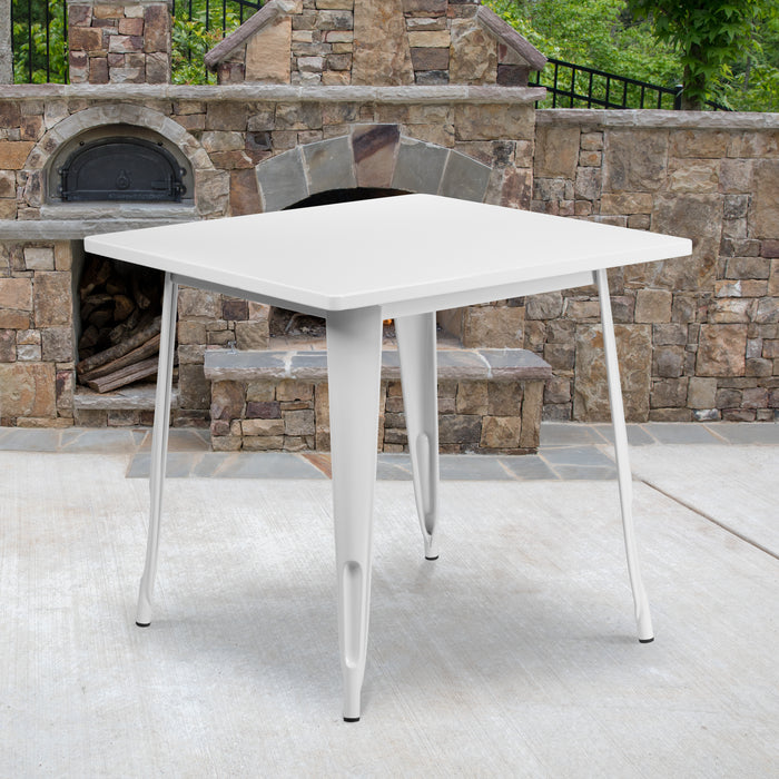 31.5'' Square White Metal Indoor-Outdoor Restaurant Table