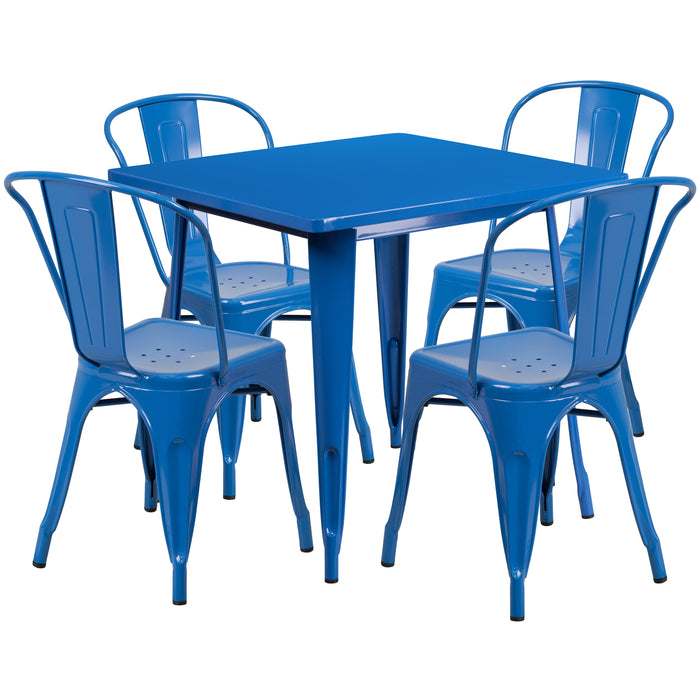 31.5'' Square Blue Metal Indoor-Outdoor Restaurant Table Set with 4 Stack Chairs