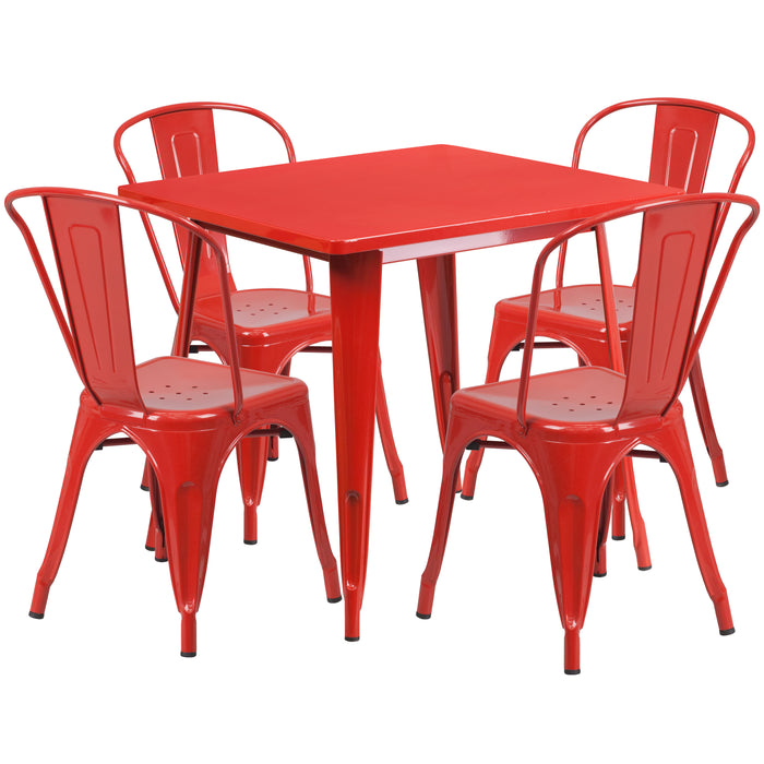 31.5'' Square Red Metal Indoor-Outdoor Restaurant Table Set with 4 Stack Chairs