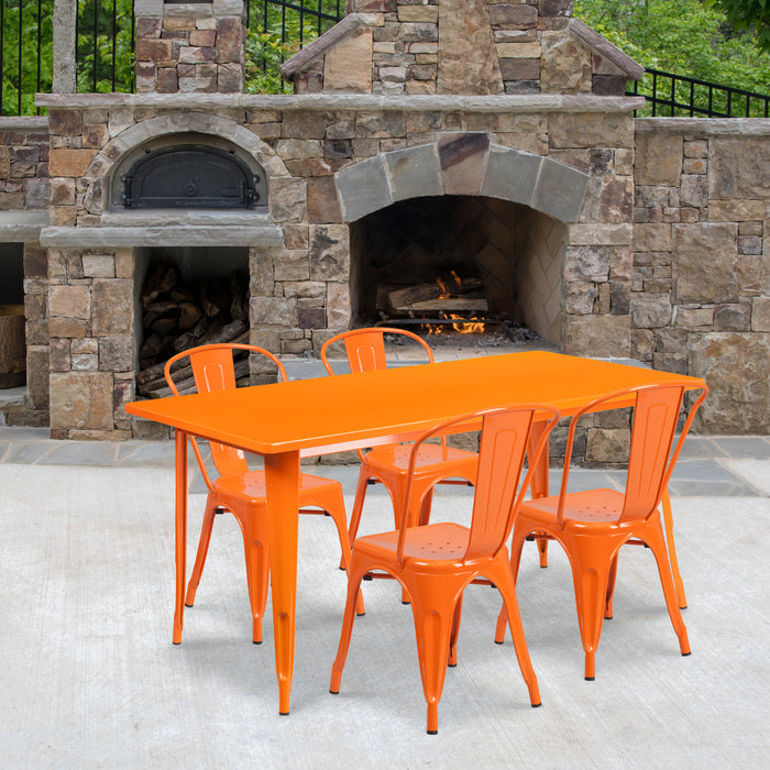 31.5'' x 63'' Rectangular Orange Metal Indoor-Outdoor Restaurant Table Set with 4 Stack Chairs