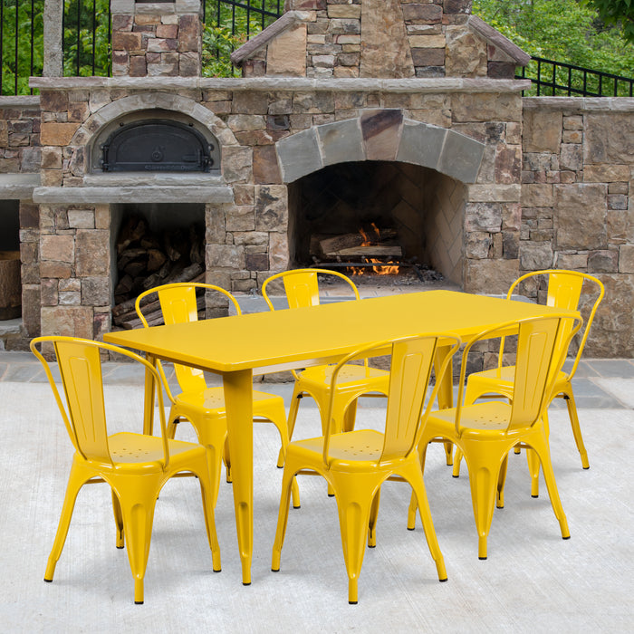 31.5'' x 63'' Rectangular Yellow Metal Indoor-Outdoor Restaurant Table Set with 6 Stack Chairs