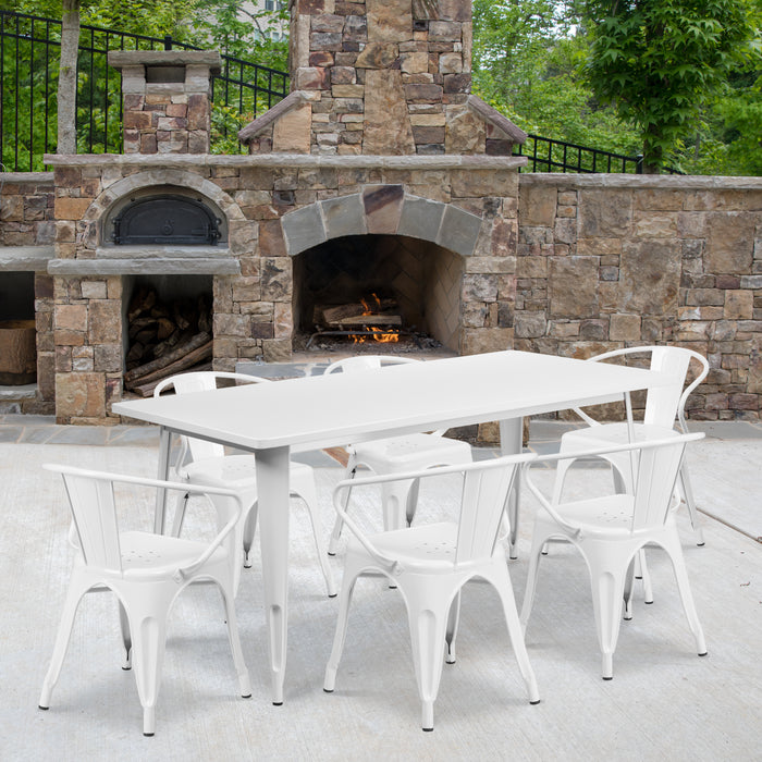 31.5'' x 63'' Rectangular White Metal Indoor-Outdoor Restaurant Table Set with 6 Arm Chairs