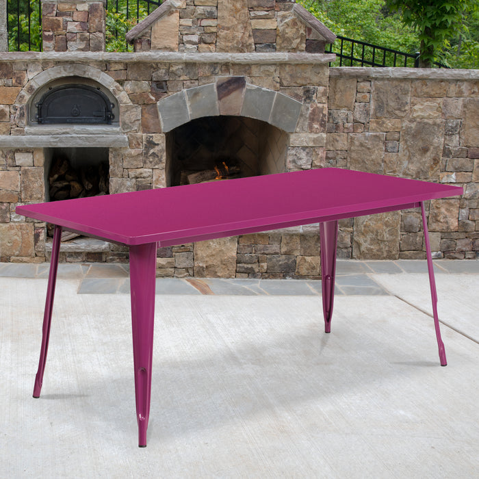 31.5'' x 63'' Rectangular Purple Metal Indoor-Outdoor Restaurant Table