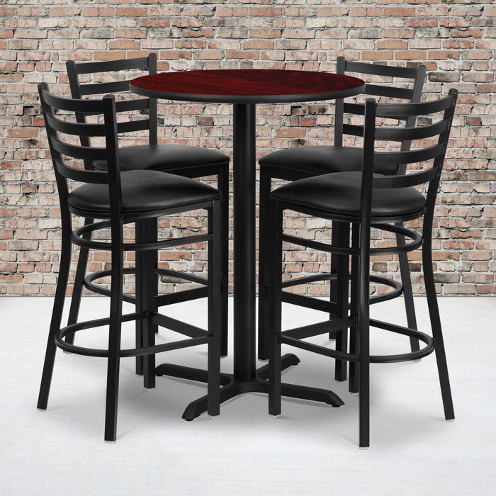 30'' Round Mahogany Laminate Restaurant Table Set with 4 Ladder Back Metal Barstools - Black Vinyl Seat