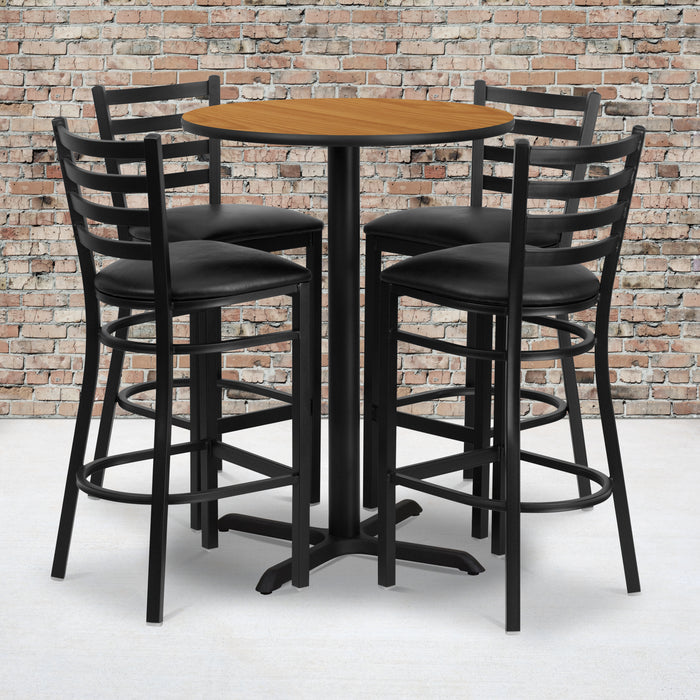 30'' Round Natural Laminate Restaurant Table Set with 4 Ladder Back Metal Barstools - Black Vinyl Seat